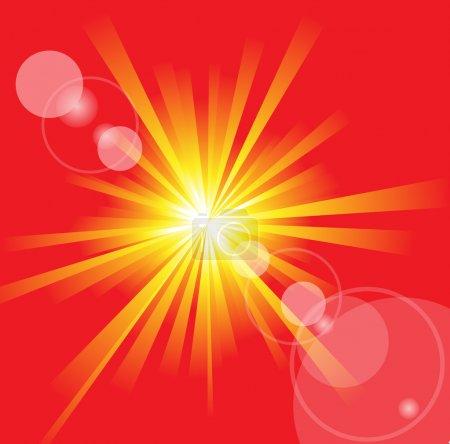 Illustration pour Le soleil d'été chaud avec une fusée éclairante - image libre de droit