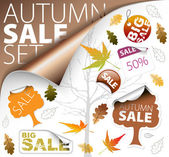 Set of autumn discount tickets labels stamps stickers