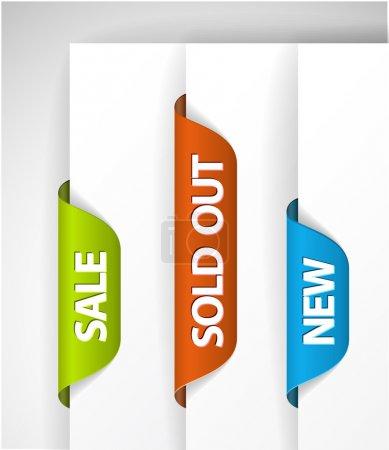 Illustration pour Ensemble d'étiquettes eshop pour articles neufs, en vente et à guichet fermé - bleu, vert et rouge - image libre de droit