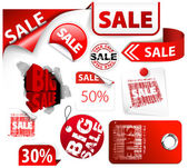 Set of red discount tickets labels stamps stickers corners tags (vector)