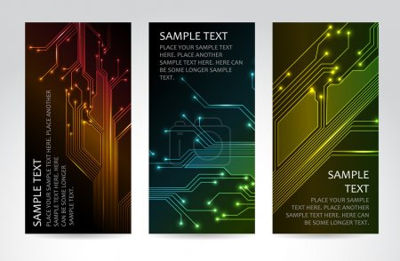 Illustration for Set of modern dark vertical technical banners - Royalty Free Image