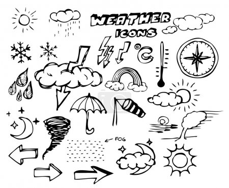 Illustration for Set of weather hand drawing icons on white - Royalty Free Image
