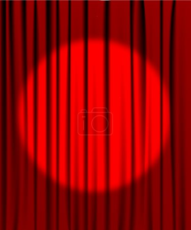 Illustration for Red curtain from the theatre with a spotlight - Royalty Free Image