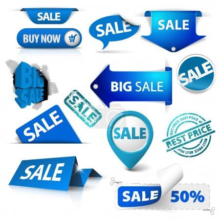 Photo pour Collection de billets bleus, étiquettes, timbres, autocollants, coins, tags sur fond blanc - image libre de droit