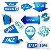 Collection of blue sale tickets labels stamps stickers