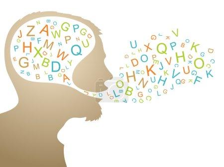 Illustration pour Silhouette abstraite de haut-parleur avec lettres colorées - image libre de droit