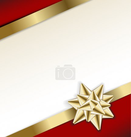 Illustration for Golden bow on a ribbon with white and red background - vector Christmas card - Royalty Free Image