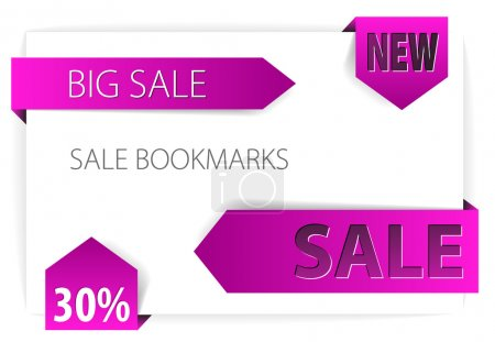 Illustration for Violet paper arrows - Sale announcement on piece of white paper - Royalty Free Image