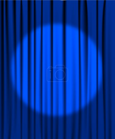 Illustration for Blue curtain from the theatre with a spotlight - Royalty Free Image