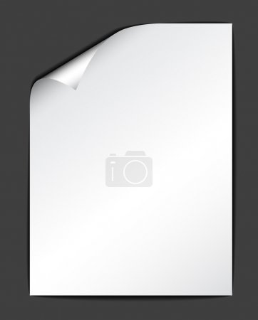 Illustration pour Feuille de papier blanc sur fond sombre (illustration vectorielle)) - image libre de droit