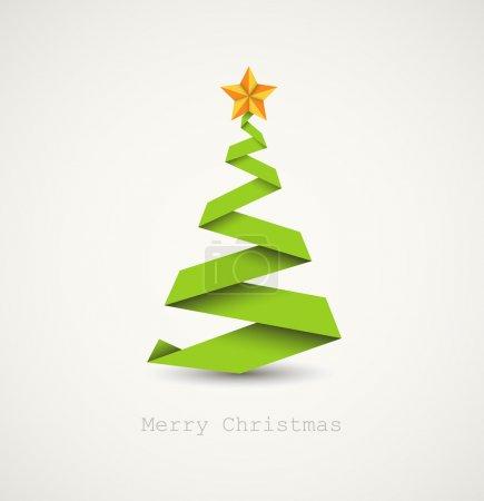 Foto de Vector simple árbol de Navidad hecho de franja de papel - tarjeta de año nuevo original - Imagen libre de derechos