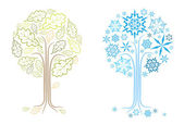 The same vector oak tree in different seasons (summer and winter)