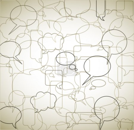 Illustration pour Fond vintage de vecteur de discours bubbles - décrit et borde - image libre de droit