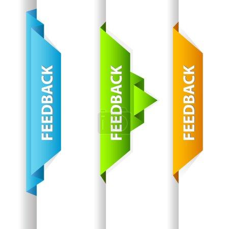 Ilustración de Etiqueta de origami de retroalimentación vector abstractos para su diseño web page - Imagen libre de derechos