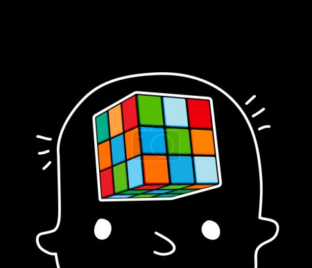 Illustration for The boy is thinking in his head touch cube - Royalty Free Image