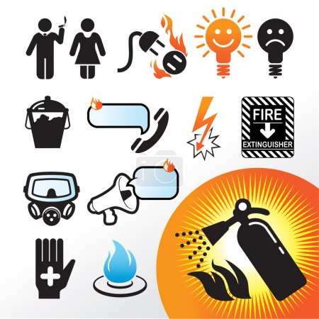 Illustration for Icon Set, fire safety things on white background - Royalty Free Image