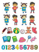 Kids illustration stuffs and figures to count
