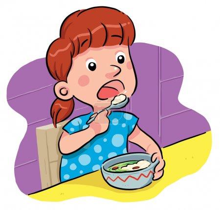 Illustration pour Une petite fille mange son petit déjeuner . - image libre de droit