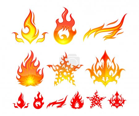 Illustration for 6 different fire element symbols. - Royalty Free Image