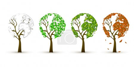 Illustration for 4 trees in four seasons - Royalty Free Image