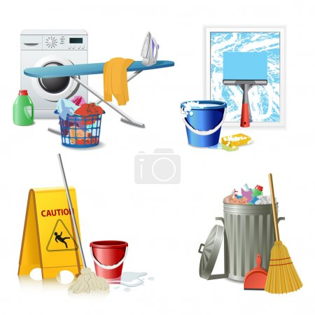 Illustration for Cleaning icons - Royalty Free Image