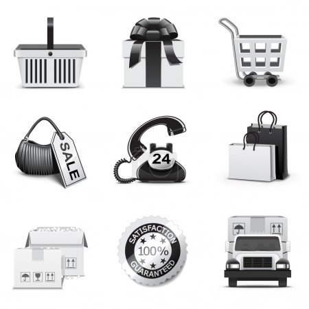 Shopping icons | B&W series