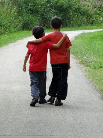 Two boys walking along a path