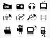 Set of black media vector icons