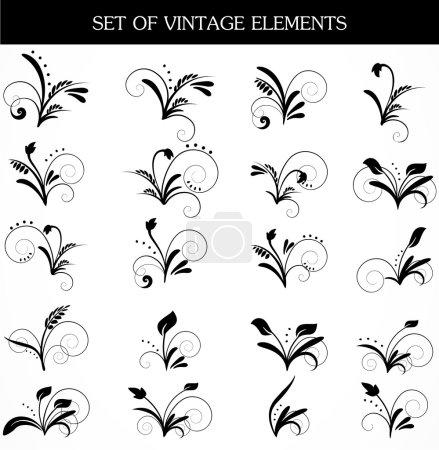Illustration pour Ensemble vectoriel d'éléments noirs de conception - image libre de droit