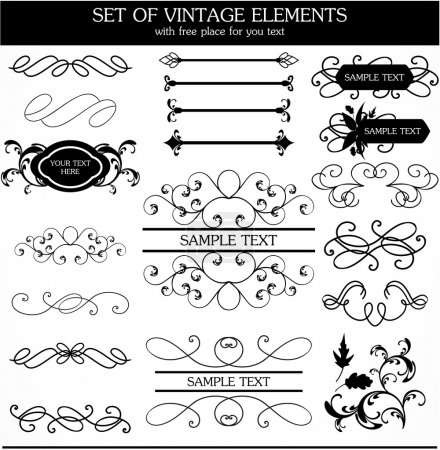 Vector set of calligraphic vintage...