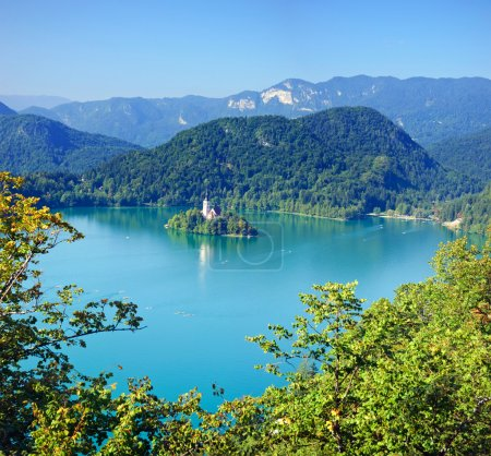 Photo for Photo from air perspective, Bled lake with island, slovenia, europe - Royalty Free Image