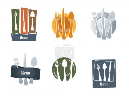 Illustration pour Logo du restaurant avec cuillère et fourchette - image libre de droit