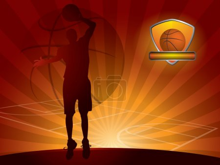 Basketball player with a ball