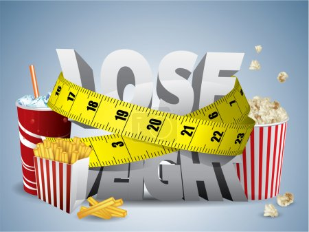 Illustration for Lose weight text with measure tape and junk food - Royalty Free Image