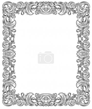 Illustration for Black and white ornate frame, isolated - Royalty Free Image
