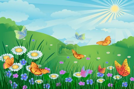 Illustration for Green landscape with flowers and butterflies - Royalty Free Image