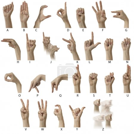 Photo for Finger Spelling the Alphabet in American Sign Language (ASL) - Royalty Free Image