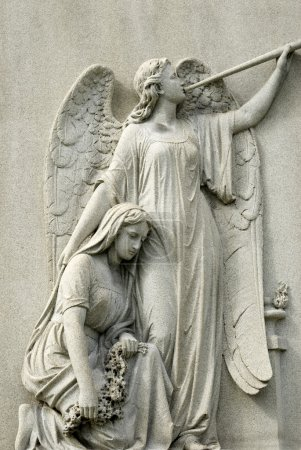 Marble Statue of Mourning Woman and Angel