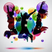 Background with happy jumping and bubbles