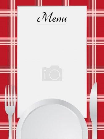 Illustration pour Menu avec set de table et fond de serviette - image libre de droit