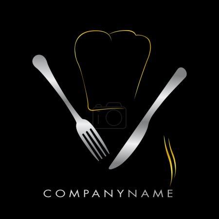 Logo restaurant - Toque or et couverts argent