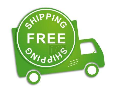 Ilustración de Free shipping truck in green for transportation business - Imagen libre de derechos