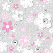 Gray seamless texture with button and flower