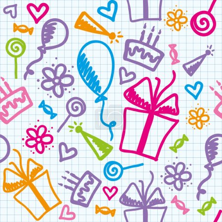 Illustration for Funny seamless pattern of birthday with hand drawn elements - Royalty Free Image