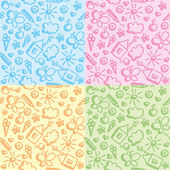 Set of four cute kid seamless patterns