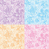 Set of colorful cute toy seamless patterns