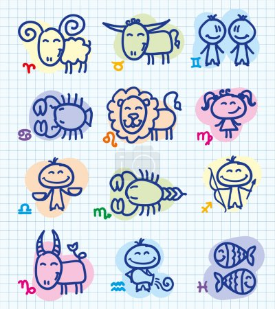Illustration for Set of funny hand drawn zodiac signs - Royalty Free Image