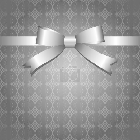 Illustration for Gray vintage background with glossy silver bow - Royalty Free Image