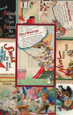 Photo pour Le fond de carte postale du début des années 1900. Cartes postales authentiques et vintage de 1907 à 1912 . - image libre de droit