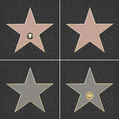 4 Walk Of Fame Type Star Vector Illustration